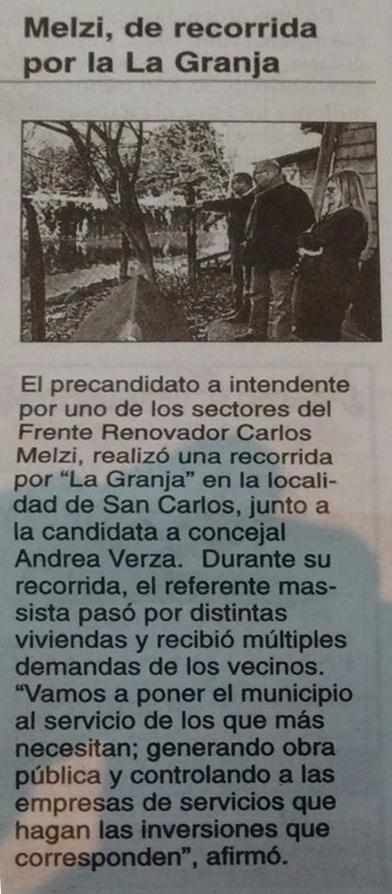 Andrea Noemi Verza. Carlos Melzi candidato a intendente recorrio la granja junto a Andrea Noemi Verza
